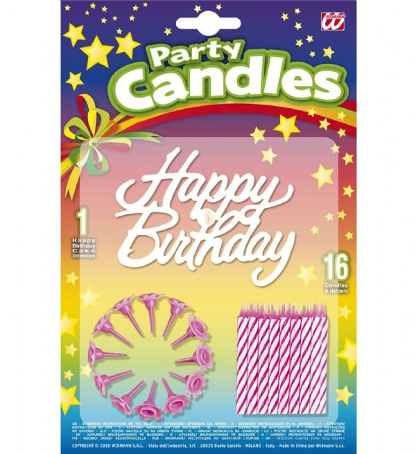 16 Happy Birthday Cake Decoration Candles & Holders Party Tableware
